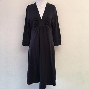 Patagonia Black V Neck Dress Long Sleeve Size L